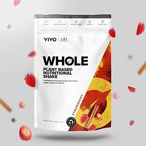 Vivo Life Whole - Batido nutricional vegano a base de vegetales - Proteínas, grasas esenciales, vitaminas y minerales - 25 porciones (Sabor Fresa) - ...