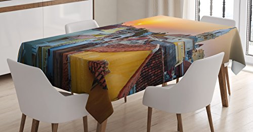 Ambesonne Sunset Tablecloth, View Over The Rooftops of The Old City Cartagena Cathedral Colombian Coast Picture, Dining Room Kitchen Rectangular Table Cover, 60 W X 90 L inches, Multicolor for $<!--$34.95-->