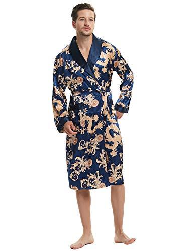Lus Chic Mens Satin Kimono Robe Silk Spa Bathrobe Luxurious Dragon Robe Pockets Loungewear