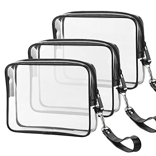 3 PACK TSA Approved Toiletry Bag Ariza Clear Travel Cosmetics Bags With Handle Strap Airline Compliant 3-1-1 Liquids Toiletries Kit Quart Size Carry-On Luggage Pouch for Women and Men(Black)