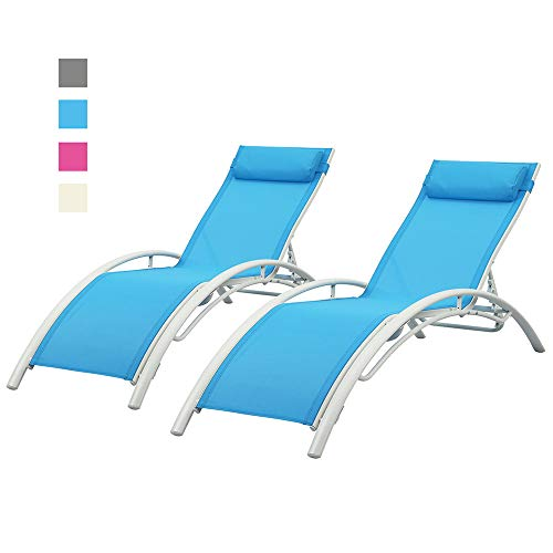 DOIT Outdoor Patio Lounge Chairs Set of 2,Patio Reclining Adjustable Chaise Lounge,Lounge Chairs for Pool Area,Foldable Lounge Chairs Outdoor (Blue) (Chaise Reclining White Patio Lounge)