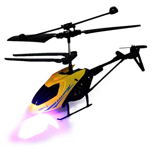 RC 901 2CH RC Helicopter Night Flying Aircraft With Radio 2 Channel Kids Toy Gifts (Yellow)