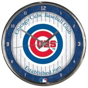 Chicago Cubs Round Chrome Wall Clock