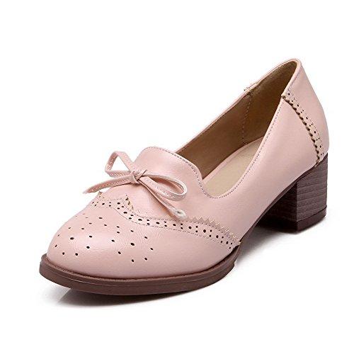 Amoonyfashion Womens Pu Tacchi A Spillo Tondo Punta Chiusa Tira Su Pompe-scarpe, Rosa, 36