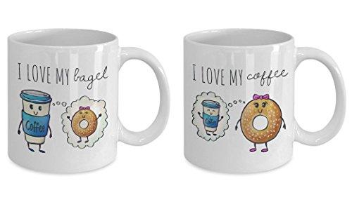 Couple Mugs, Coffee Meets Bagel Mug, Online Dating, Couple's Anniversary Mug, Valentines Day Mug, Couples Coffee Mugs, Couples Gift Set, 11oz, 15oz, gift