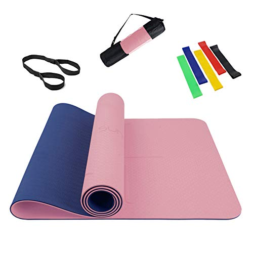 Summer Mae Yoga Mat with Alignment Lines Eco Friendly Non Slip Fitness Exercise High Density Hot Yoga Mat with Carrying…