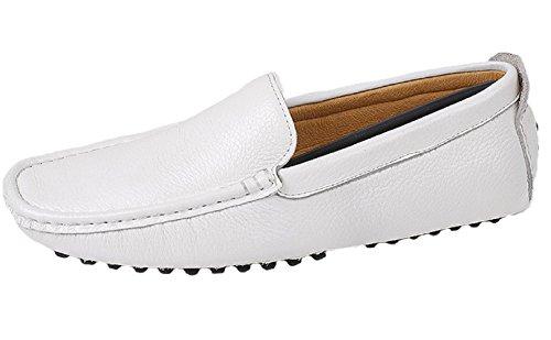 Santimon-mens Confortable Doux Cuir Véritable Conduite Chaussure Mocassins Mocassins Mocassins Doug Chaussures Blanc
