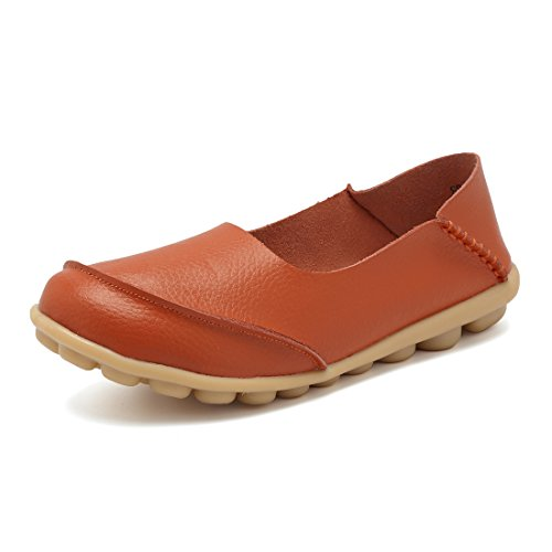KISFLY Lightweight Rubber Sole Boat Shoes Orange Size 10.5 Leather Casual Loafers Driving Flats for Women