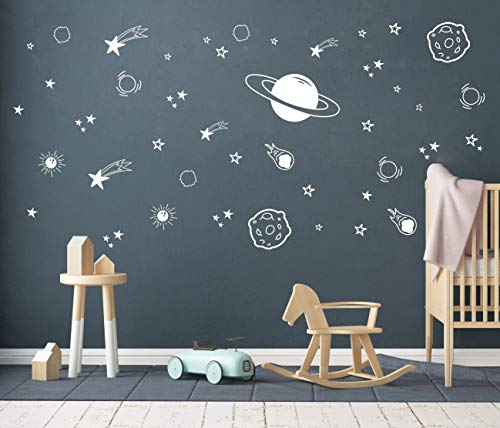 Planet Wall Decal, Boys Room Decor, Outer Space Wall Decals, Star Wall Stickers, Vinyl Wall Decals for Children Baby Kids Boys Bedroom, Nursery Decor(Y04) (White)