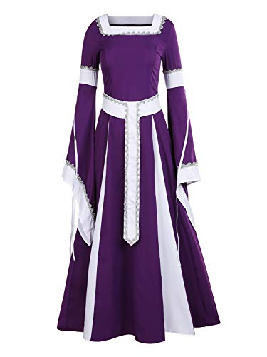 - NiuBia Womens Deluxe Medieval Dress Renaissance Costumes Victorian Irish Over Long Dress Cosplay Retro Gown