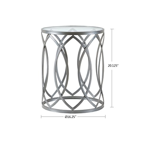 Madison Park FPF17-0295 Arlo Accent Glass Top Hollow Round Small, Metal Side Geometric Pattern, Modern Style End Tables for Living Room, -