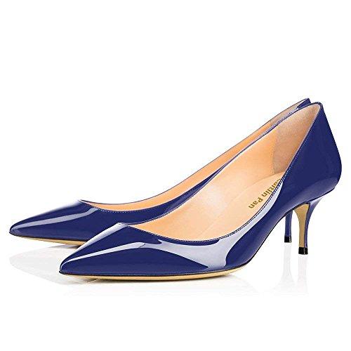65MM Femmes Chaussures Bout Travail Rouge Semelle Chaton Verni Talon Escarpins de Robe Pointu Cuir Bleu Pan Marin Caitlin Fête wXqCR5