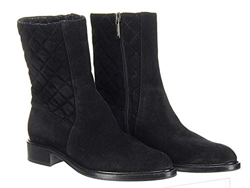 Aquatalia Women's Black Quilted Suede Mid Boots Flat Ankle Zipper Booties Sz 6.5