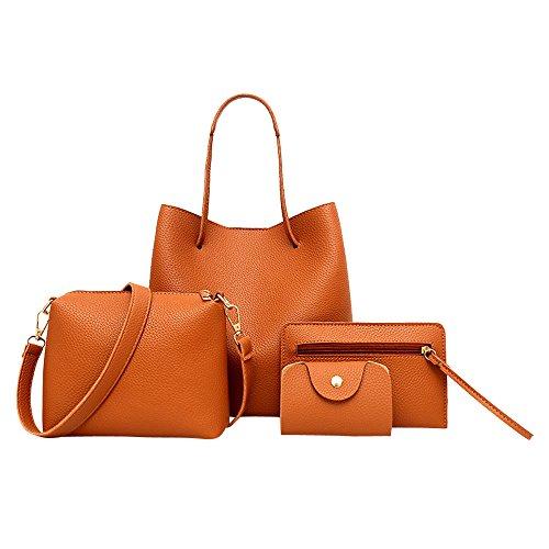 Rcool Woman Girl 4pcs Fashion Casual Women Pattern Leather Handbag+Crossbody Bag+Messenger Bag+Card Package Brown