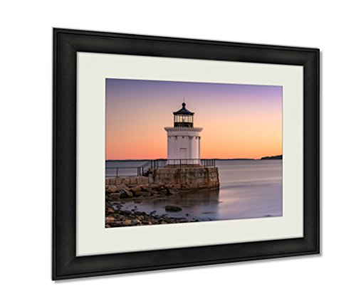 Ashley Framed Prints, South Portland Maine USAt Portland Breakwater Light Wall Art Decor Giclee Photo Print In Black Wood Frame, Soft White Matte, Ready to hang, 24x30 - Portland Maine Glasses