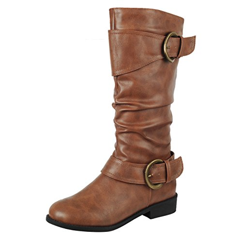 Forever Link Mujeres Closed Toe Hebilla Slouch Low Heel Mid-calf Bota Tan