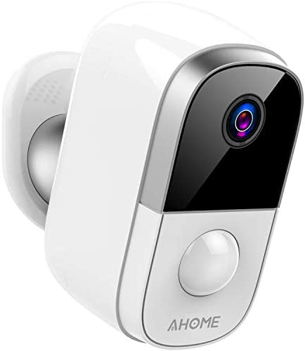 AHOME C1 Wireless Rechargeable Battery Powered Outdoor Security Camera Indoor Baby Monitor with PIR Motion Detection, Waterproof 1080P Night Vision, 2-Way Audio, 2.4Ghz WiFi, Cloud Storage – White