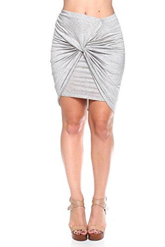 NELLA FANTASIA Womens Drape Wrap Stretchy Asymmetrical High Low Pencil Skirt