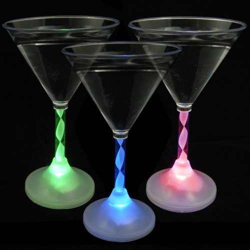 Light Up Martini Glasses with Color Changing LED Light & Long Spiral Stem (Set of (Red Martini Glass)