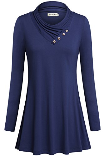 Women Tunic Shirts, Nandashe Sexy Plus Size Button Loose Outerwear Sweater Blue 2XL