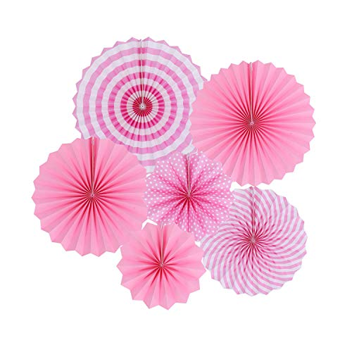 Zilue Hanging Pink Paper Fans Decoration Kit Round Paper Garlands for Wedding Birthday Party Baby Showers Events Accessories Set of 6 -
