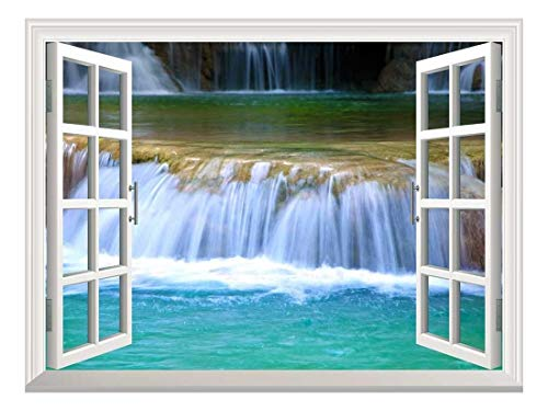 Removable Wall Sticker Wall Mural Natural Mountain Cascading Waterfall Creative Window View Wall Decor