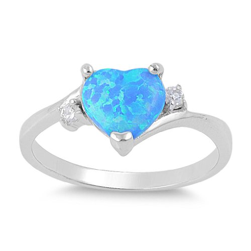 Sterling Silver Blue Lab Opal Heart Ring Size 5
