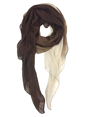 YOUR SMILE Women's Lightweight Color mixture Print Shawl Scarf For Spring Season (Brown/White)