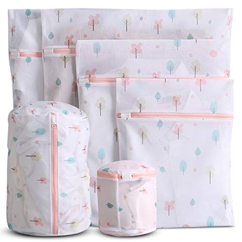 WestonBasics 6 Pcs Mesh Laundry Bags for Delicates with Cute Prints, Travel Storage Organizer Pack, Garment Washing Bags for Clothes, Bras, Underwear, Socks, Lingerie, PINK (FLORAL)