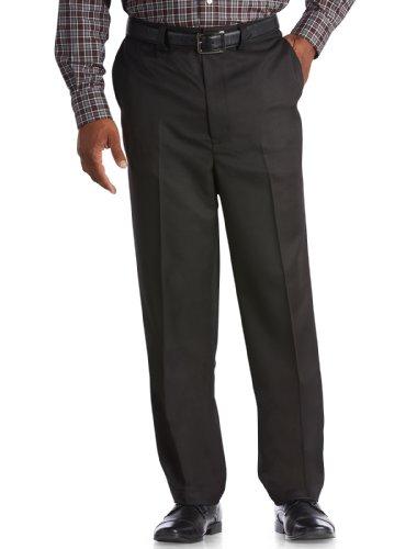 Oak Hill Big & Tall Flat-Front Microfiber Pants (44 X 30, Black)