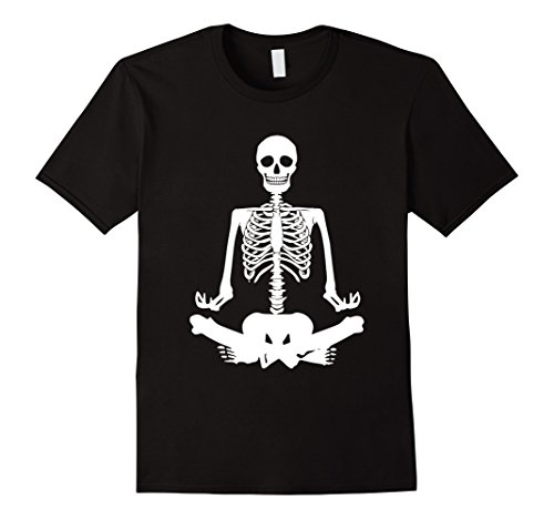Yoga Trainer Costume (Mens Funny Skeleton Halloween T-Shirt Yoga Halloween Shirt 2XL Black)