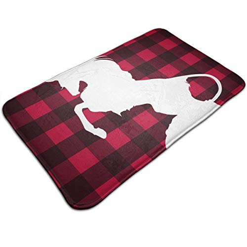 DIDIDI Christmas Buffalo Check Red Moose Reindeer Dancing Throw Area Ground Mat Accent Floor Carpet Outside Door Set Decor Welcome Entryway Rug Sign Celebrate Decorations Ornament