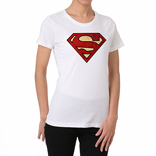 (Multi-Color Soft Metallic Foil Superman Design Women's T Shirts)