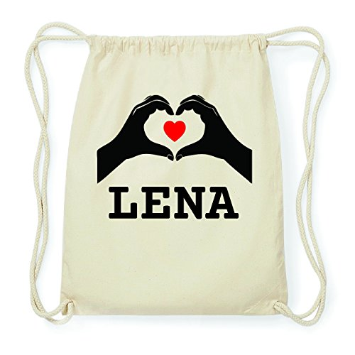 JOllify LENA Hipster Turnbeutel Tasche Rucksack aus Baumwolle - Farbe: natur Design: Hände Herz hGr5HwwE6