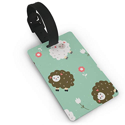- Funny Seamless Pattern with Sheeps and Flowers Vector Travel Luggage Suitcase Labels ID Tags Business Card Holder