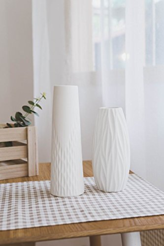 Opps White Ceramic Vases With Differing Unique Rope Design For Home