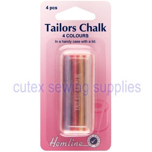 Tailors Chalk, 4 Colors (White, Blue, Red, Yellow) With Plastic Container Hemline