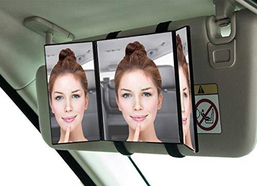 - Zento Deals Car Visor Cosmetic Vanity Mirror Clip On Sun Visor Mirror-Makeup Travel Tri Fold Universal Fit Auto Mirror for Car Truck SUV RV Van Jeep Sun Visors