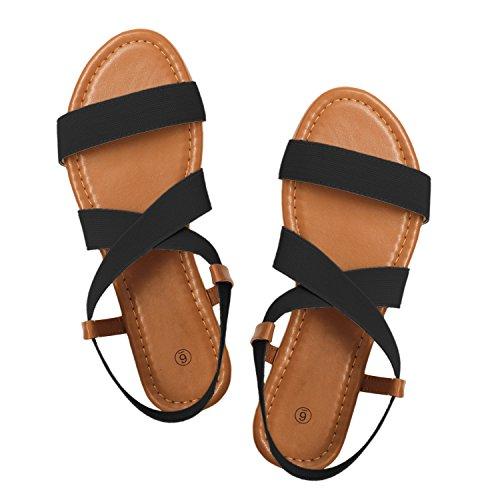 (Rekayla Flat Elastic Sandals for Women Black)