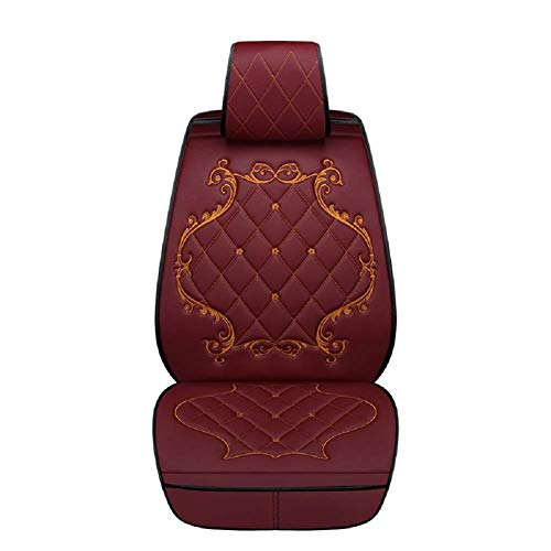 Crown Car Seat Covers, Fully Surrounded Queen Seat,Winter Leather Seats Car,PU Leather and 3D Breathable Fabric,Red: