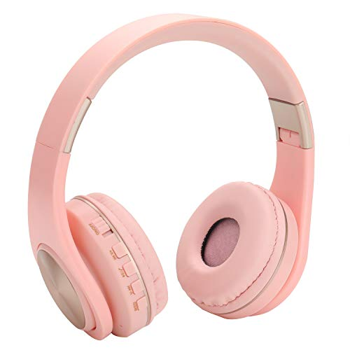 Kids Bluetooth Headphones Wireless/Wired On Ear Foldable Headphones for Kids Adults,Built-in Mic,FM,Micro SD/TF Card Slot,Stereo Sound for Pc Tablet Cell Phones Ipad Airplane School Use(Pink)