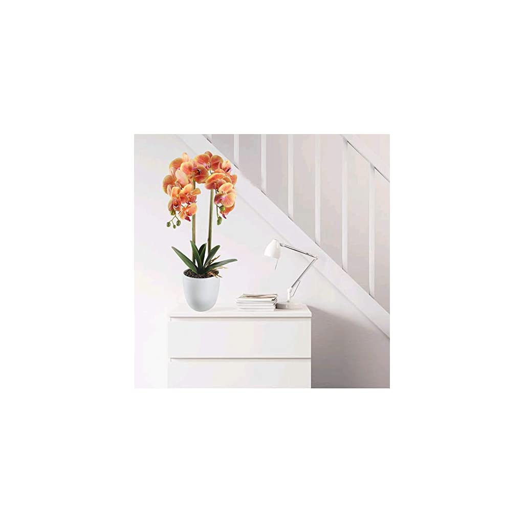 HO2NLE 21 inches Artificial Orchid Potted Plant Fake Bonsai Flower Arrangements Real Touch PU Faux Phaleanopsis Branches with White Ceramics Pot Home Office Bedroom Table Centerpieces Decor Orange
