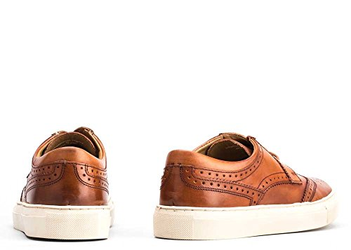 Base London Zapato Hombre Cordones Perforado Leather Washed Tan Tan