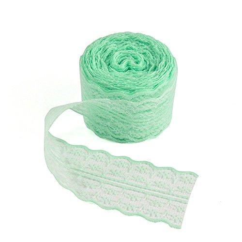 tul de encaje con patrón floral, 5 cm, 100 cm, para decoración de cumpleaños, bodas, regalos, diseño floral, Verde, 5cm x...