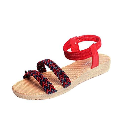 Sandales Dété, Inkach Femmes Chaussures Plates Soild Bohemia Sandales Peep-toe Chaussures Dextérieur Rouge