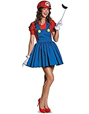 Womens Mario Costume Super Mario Brothers Game Plumber Ladies Fancy Dress Outfit (L/XL)