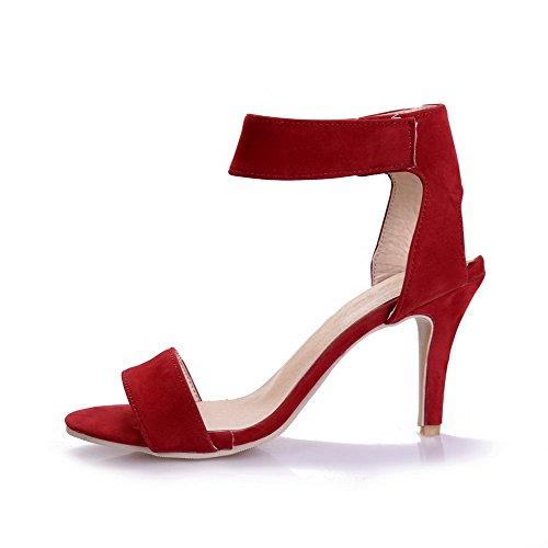 AllhqFashion Mujetes Sólido Velcro Puntera Abierta Tacón de aguja Sandalia de Tacón Rojo