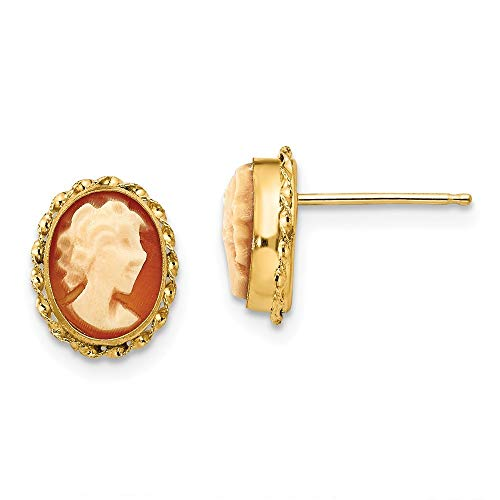Roy Rose Jewelry 14K Yellow Gold Madi K Cameo Post Earrings (Post Gold Cameo Earrings)