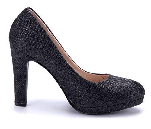 Schuhtempel24 Damen Schuhe Plateau Pumps Trichterabsatz Glitzer 10 cm High Heels Schwarz