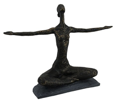 (Zeckos Antique Bronze Finish Abstract Outstretched Lotus Pose Yoga)
